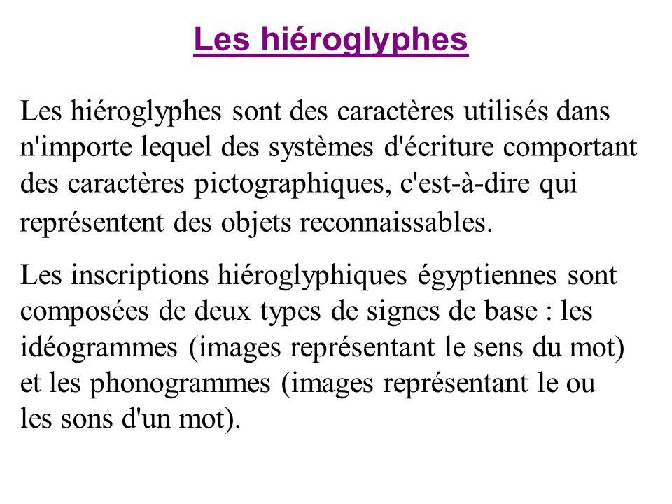 Les hiéroglyphes sont des caractères utilisés dans n'importe lequel des systèmes d'écriture comportant des caractères pictographiques, c'est-à-dire qu