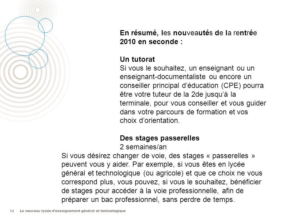 Le nouveau lycée denseignement général et technologique 14 Les nouveautés de la rentrée 2010 En résumé, les nouveautés de la rentrée 2010 en seconde :
