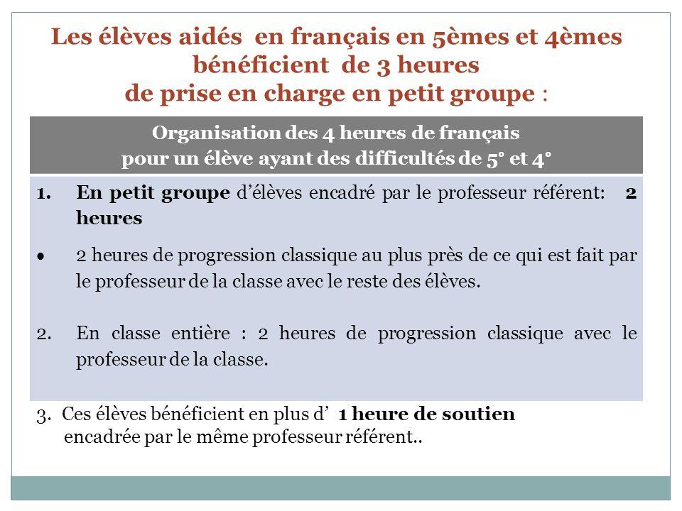 Les élèves aidés en français en 5èmes et 4èmes bénéficient de 3 heures de prise en charge en petit groupe : Organisation des 4 heures de français pour