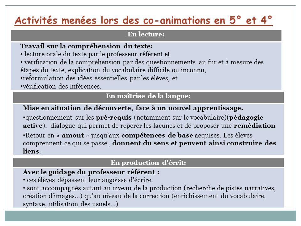 Activités menées lors des co-animations en 5° et 4° En lecture: Travail sur la compréhension du texte: lecture orale du texte par le professeur référe