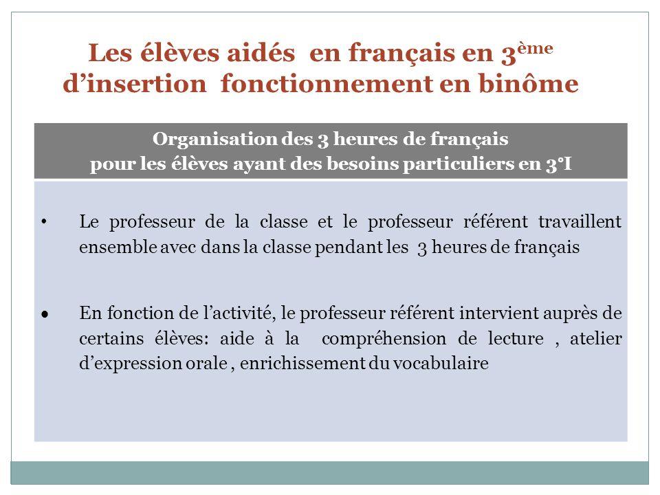 Les élèves aidés en français en 3 ème dinsertion fonctionnement en binôme Organisation des 3 heures de français pour les élèves ayant des besoins part