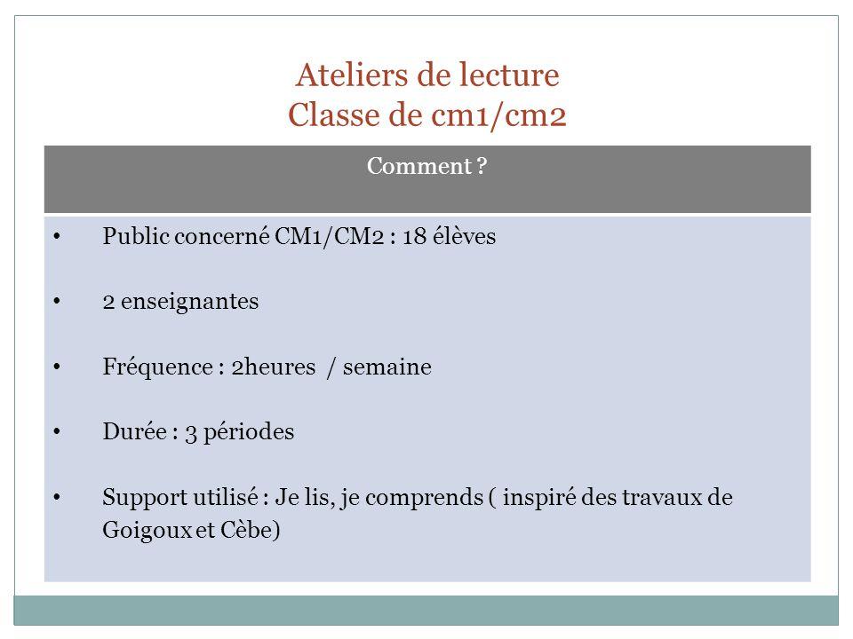 Ateliers de lecture Classe de cm1/cm2 Comment ? Public concerné CM1/CM2 : 18 élèves 2 enseignantes Fréquence : 2heures / semaine Durée : 3 périodes Su