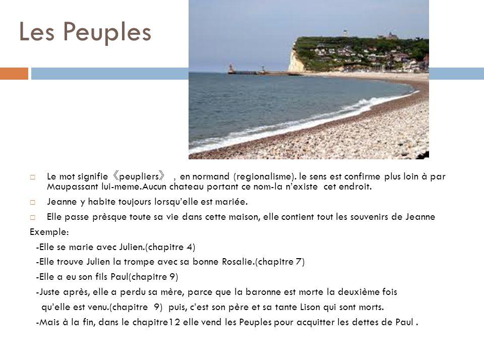 Les Peuples Le mot signifie peupliers en normand (regionalisme). le sens est confirme plus loin à par Maupassant lui-meme.Aucun chateau portant ce nom