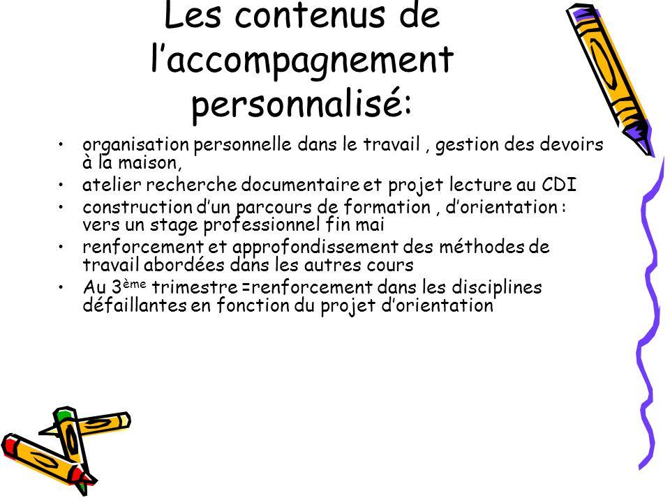 Les contenus de laccompagnement personnalisé: organisation personnelle dans le travail, gestion des devoirs à la maison, atelier recherche documentair