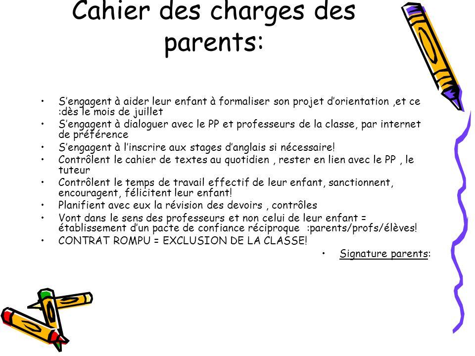 Cahier des charges des parents: Sengagent à aider leur enfant à formaliser son projet dorientation,et ce :dès le mois de juillet Sengagent à dialoguer