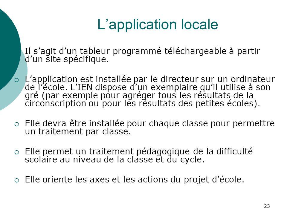 23 Lapplication locale Il sagit dun tableur programmé téléchargeable à partir dun site spécifique.