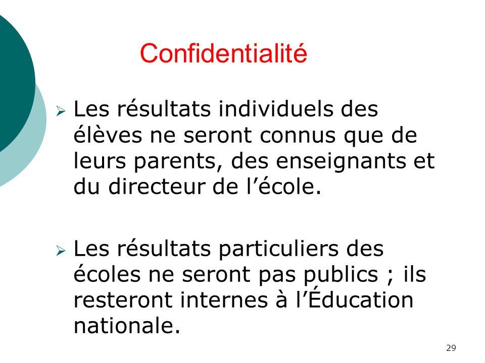 29 Les résultats individuels des élèves ne seront connus que de leurs parents, des enseignants et du directeur de lécole.