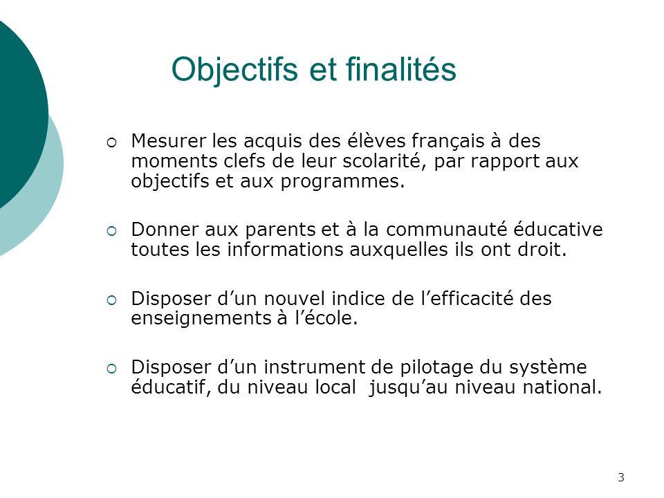 3 Objectifs et finalités Mesurer les acquis des élèves français à des moments clefs de leur scolarité, par rapport aux objectifs et aux programmes.