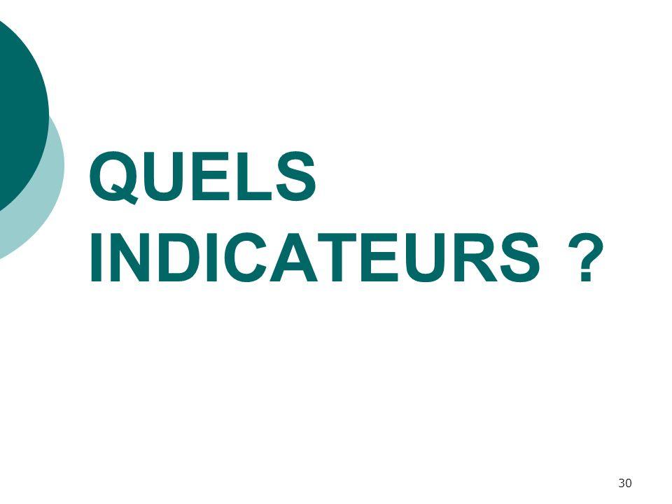 30 QUELS INDICATEURS ?