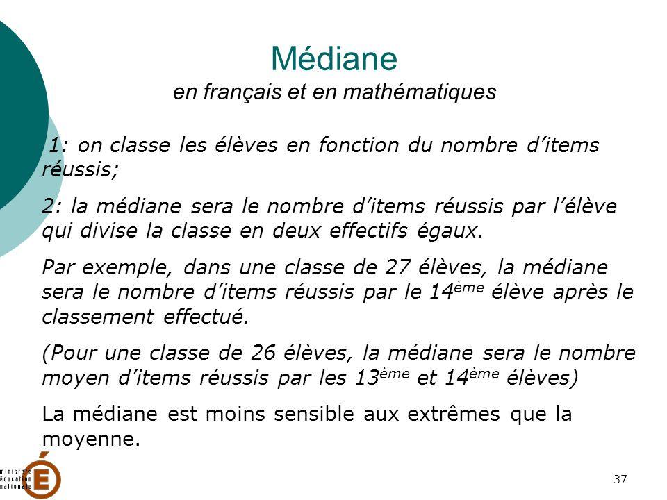 37 Médiane en français et en mathématiques 1: on classe les élèves en fonction du nombre ditems réussis; 2: la médiane sera le nombre ditems réussis par lélève qui divise la classe en deux effectifs égaux.