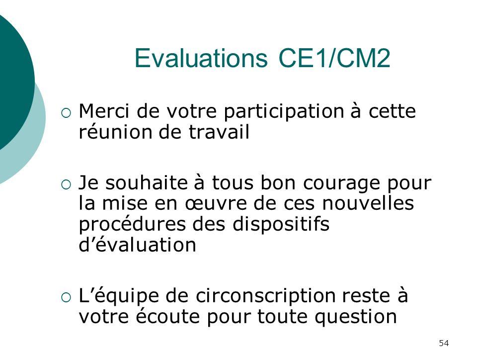 54 Evaluations CE1/CM2 Merci de votre participation à cette réunion de travail Je souhaite à tous bon courage pour la mise en œuvre de ces nouvelles procédures des dispositifs dévaluation Léquipe de circonscription reste à votre écoute pour toute question