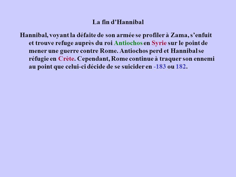La fin dHannibal Hannibal, voyant la défaite de son armée se profiler à Zama, senfuit et trouve refuge auprès du roi Antiochos en Syrie sur le point d