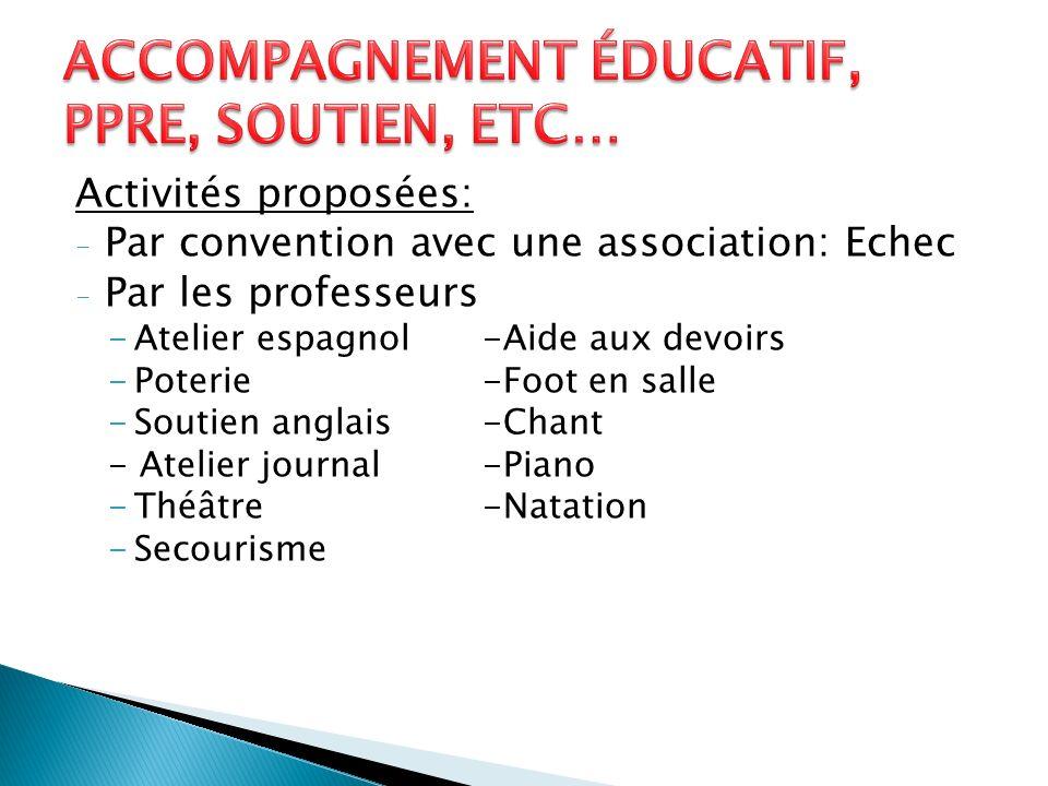 Activités proposées: - Par convention avec une association: Echec - Par les professeurs -Atelier espagnol-Aide aux devoirs -Poterie-Foot en salle -Sou