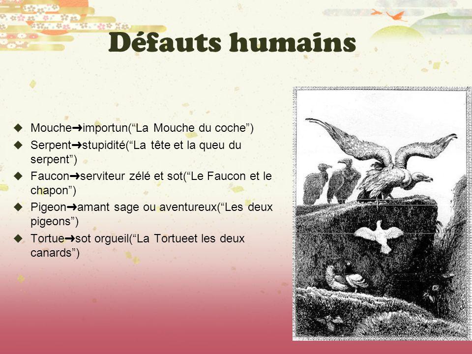 Défauts humains Mouche importun(La Mouche du coche) Serpent stupidité(La tête et la queu du serpent) Faucon serviteur zélé et sot(Le Faucon et le chap