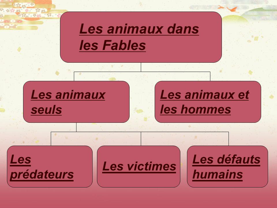 Les animaux dans les Fables Les animaux seuls Les animaux et les hommes Les prédateurs Les victimes Les défauts humains