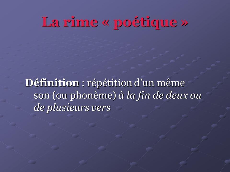 La rime « poétique » Définition : répétition dun même son (ou phonème) à la fin de deux ou de plusieurs vers