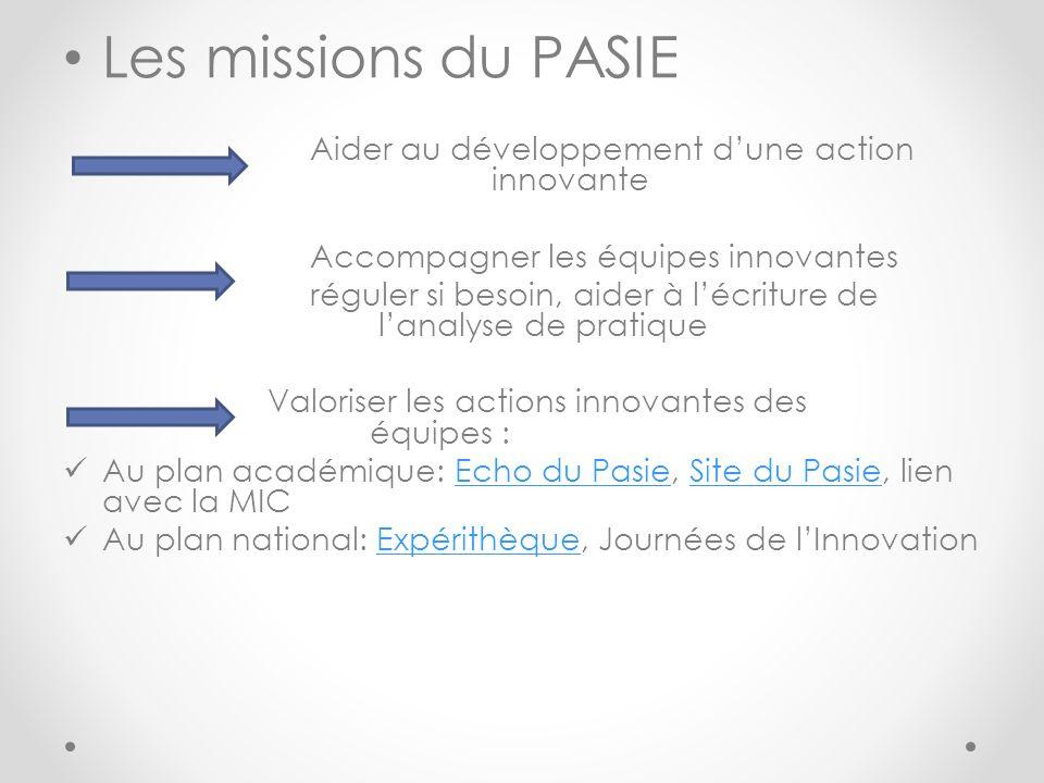 Les missions du PASIE Aider au développement dune action innovante Accompagner les équipes innovantes réguler si besoin, aider à lécriture de lanalyse