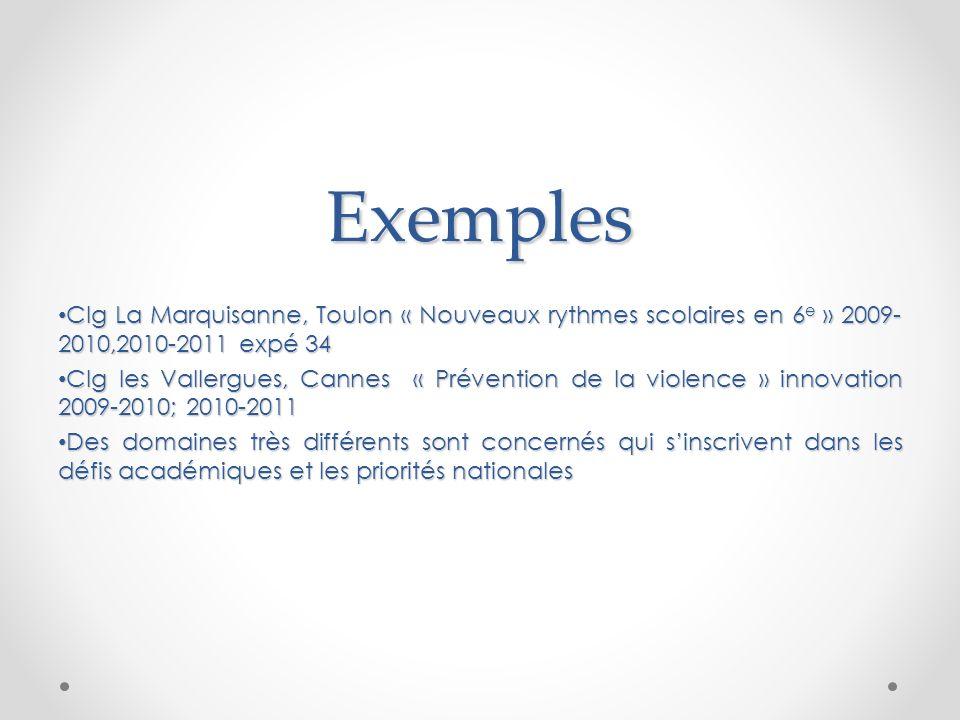 Exemples Clg La Marquisanne, Toulon « Nouveaux rythmes scolaires en 6 e » 2009- 2010,2010-2011 expé 34 Clg La Marquisanne, Toulon « Nouveaux rythmes s