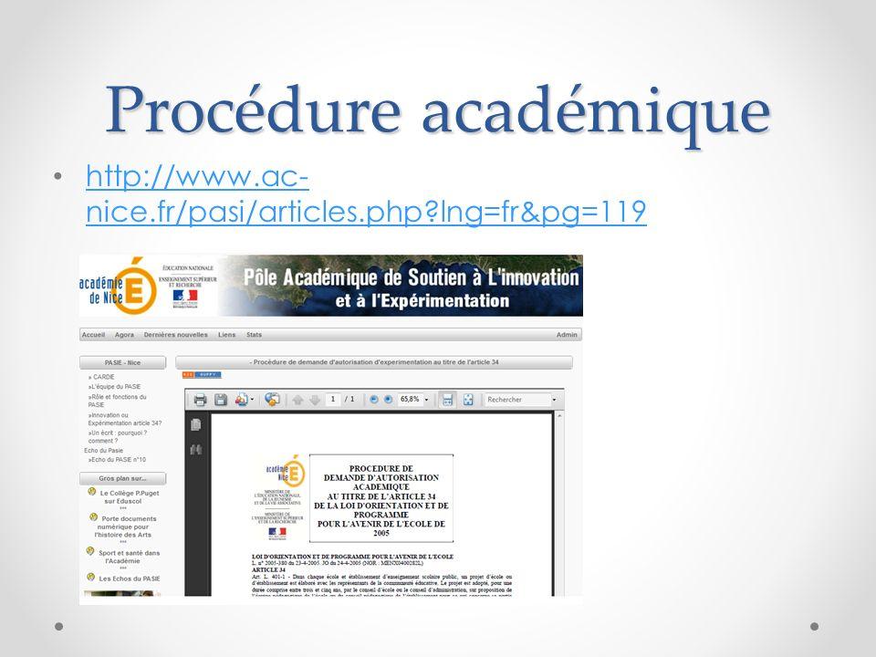 Procédure académique http://www.ac- nice.fr/pasi/articles.php?lng=fr&pg=119 http://www.ac- nice.fr/pasi/articles.php?lng=fr&pg=119