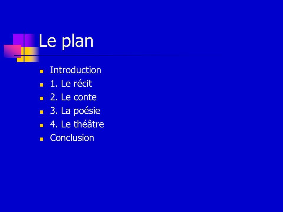 Le plan Introduction 1. Le récit 2. Le conte 3. La poésie 4. Le théâtre Conclusion