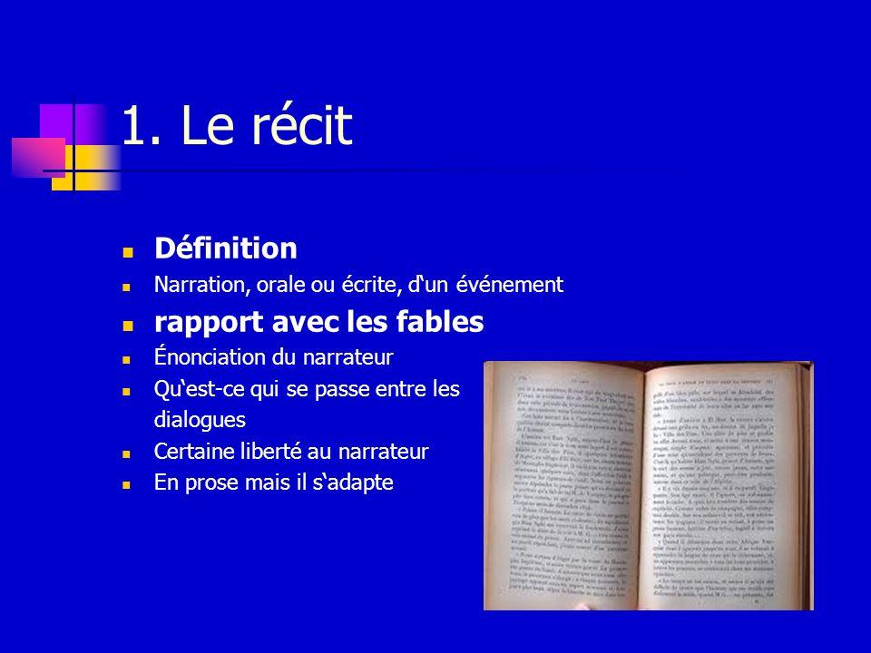 1. Le récit Définition Narration, orale ou écrite, dun événement rapport avec les fables Énonciation du narrateur Quest-ce qui se passe entre les dial