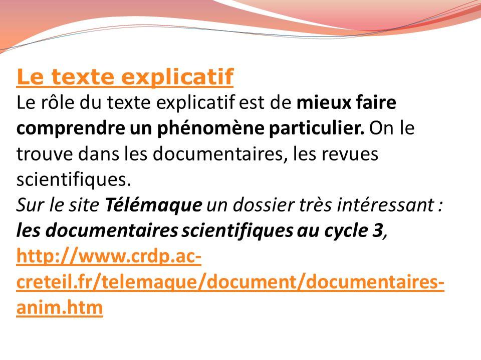 Le texte explicatif Le rôle du texte explicatif est de mieux faire comprendre un phénomène particulier. On le trouve dans les documentaires, les revue