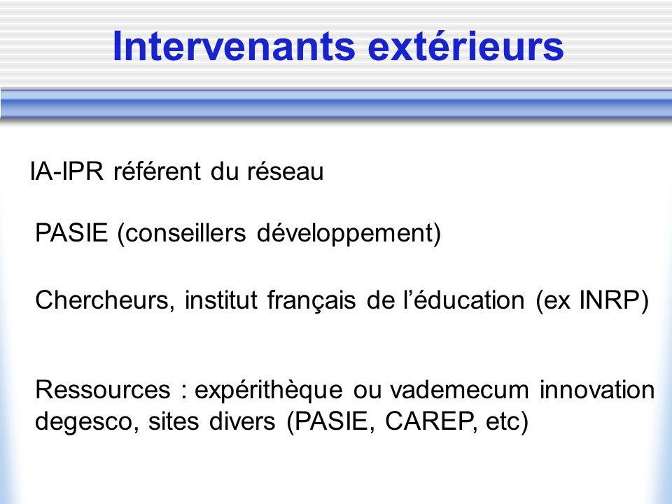 Intervenants extérieurs IA-IPR référent du réseau PASIE (conseillers développement) Chercheurs, institut français de léducation (ex INRP) Ressources : expérithèque ou vademecum innovation degesco, sites divers (PASIE, CAREP, etc)