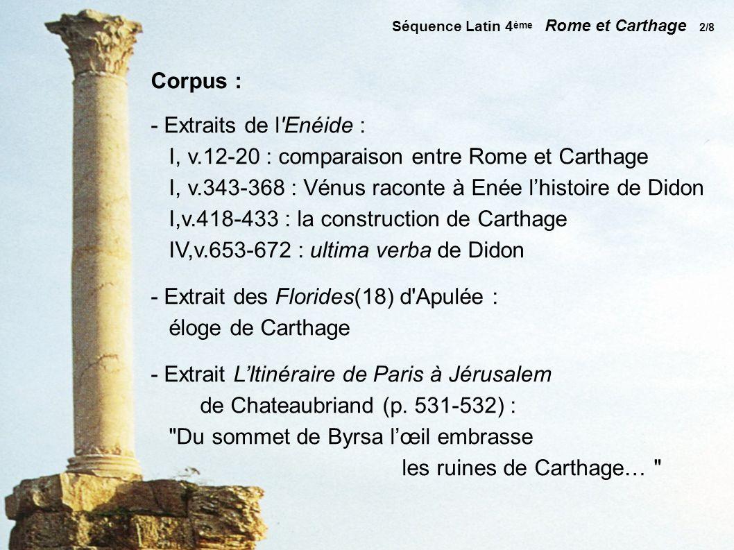 Corpus : - Extraits de l Enéide : I, v.12-20 : comparaison entre Rome et Carthage I, v.343-368 : Vénus raconte à Enée lhistoire de Didon I,v.418-433 : la construction de Carthage IV,v.653-672 : ultima verba de Didon - Extrait des Florides(18) d Apulée : éloge de Carthage - Extrait LItinéraire de Paris à Jérusalem de Chateaubriand (p.