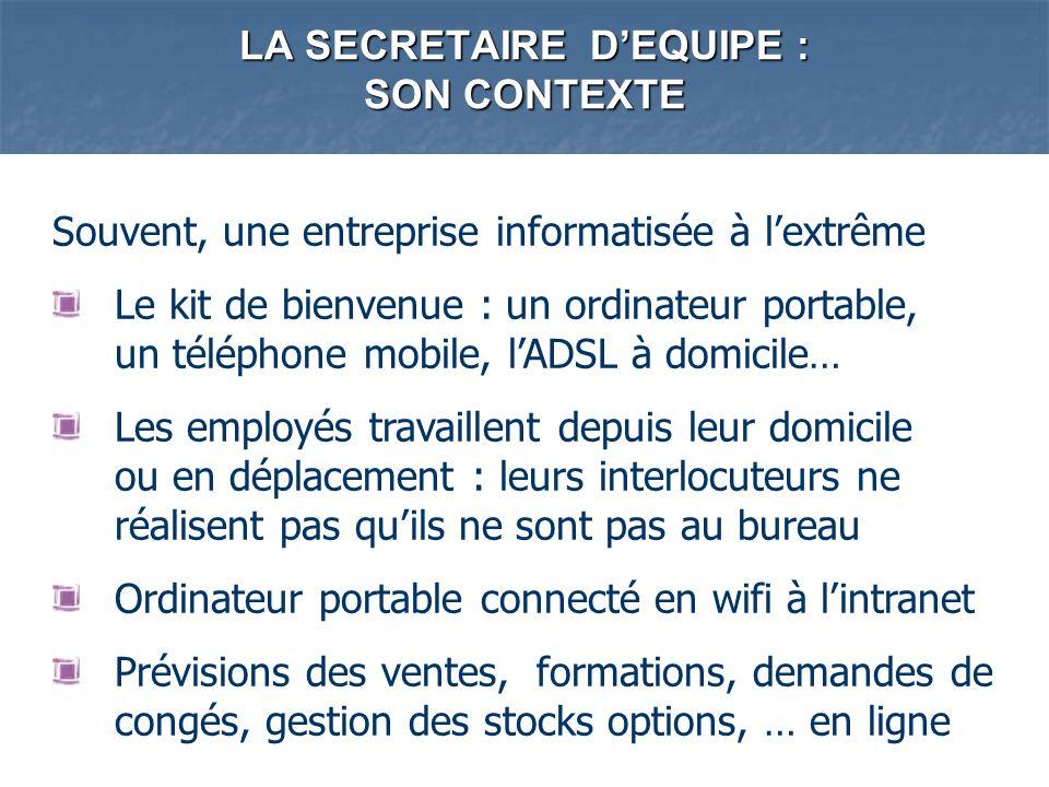 LA SECRETAIRE DEQUIPE : SON CONTEXTE Souvent, une entreprise informatisée à lextrême Le kit de bienvenue : un ordinateur portable, un téléphone mobile