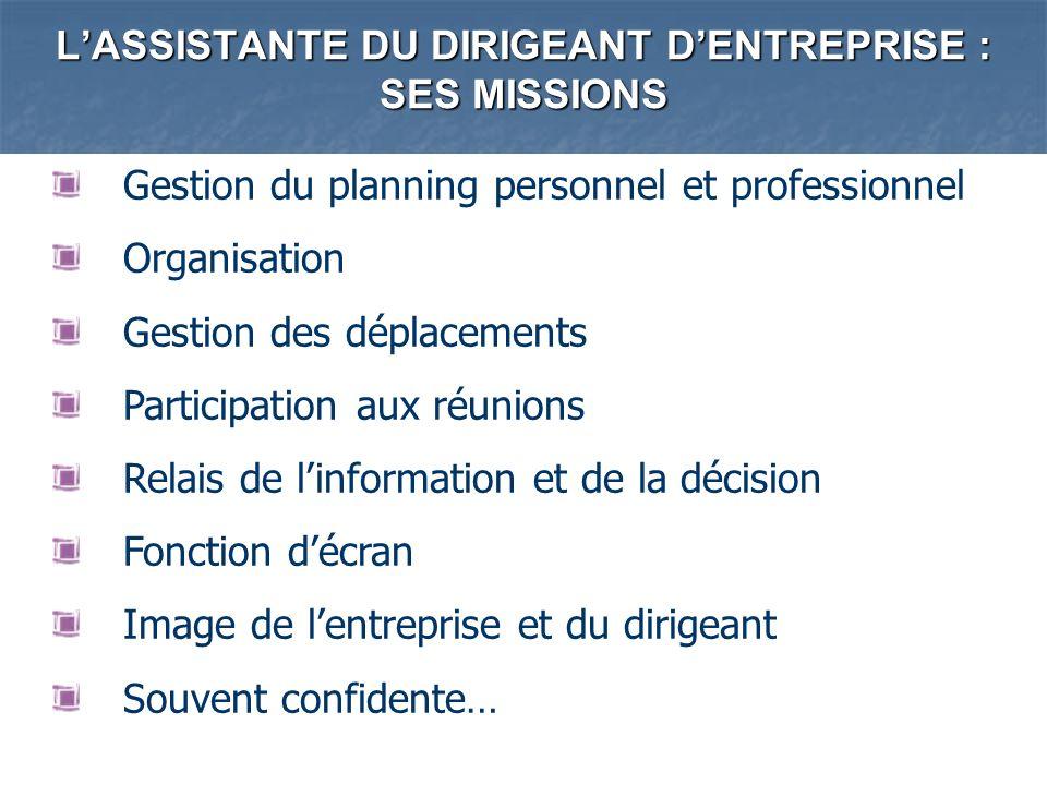 LASSISTANTE DU DIRIGEANT DENTREPRISE : SES MISSIONS Gestion du planning personnel et professionnel Organisation Gestion des déplacements Participation