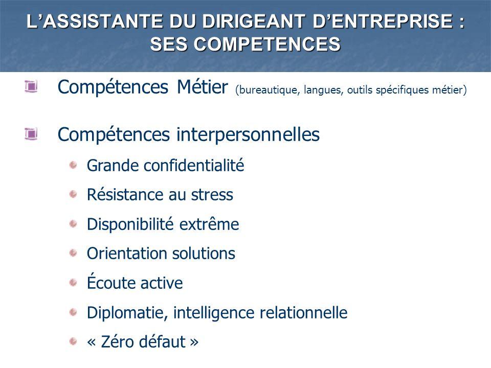 LASSISTANTE DU DIRIGEANT DENTREPRISE : SES COMPETENCES Compétences Métier (bureautique, langues, outils spécifiques métier) Compétences interpersonnel