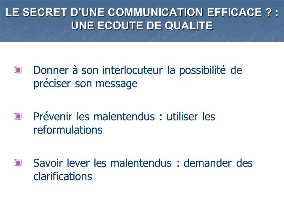 LE SECRET DUNE COMMUNICATION EFFICACE ? : UNE ECOUTE DE QUALITE Donner à son interlocuteur la possibilité de préciser son message Prévenir les malente