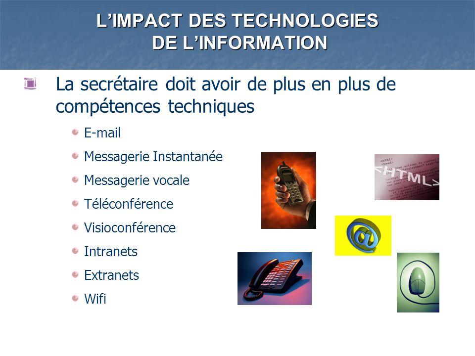 LIMPACT DES TECHNOLOGIES DE LINFORMATION La secrétaire doit avoir de plus en plus de compétences techniques E-mail Messagerie Instantanée Messagerie v