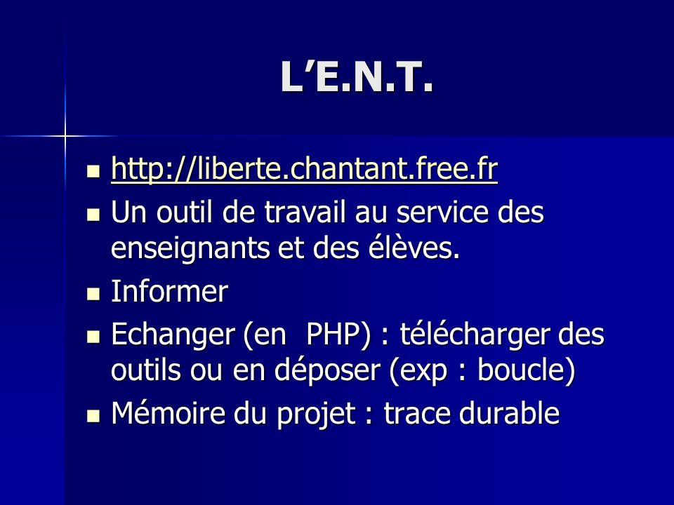 LE.N.T. http://liberte.chantant.free.fr http://liberte.chantant.free.fr http://liberte.chantant.free.fr Un outil de travail au service des enseignants