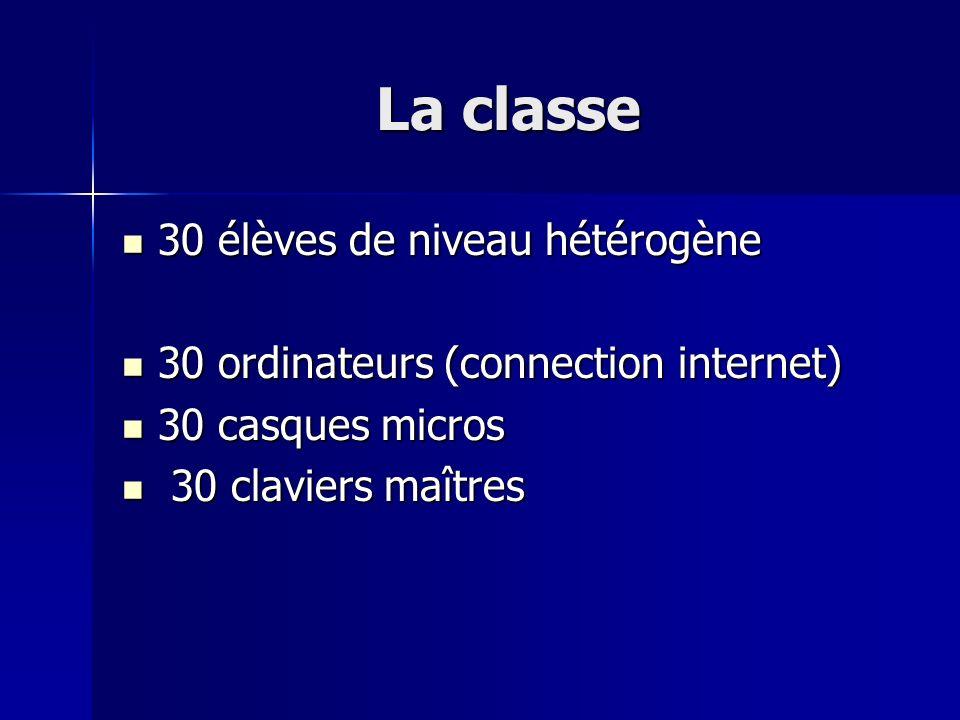 La classe 30 élèves de niveau hétérogène 30 élèves de niveau hétérogène 30 ordinateurs (connection internet) 30 ordinateurs (connection internet) 30 c