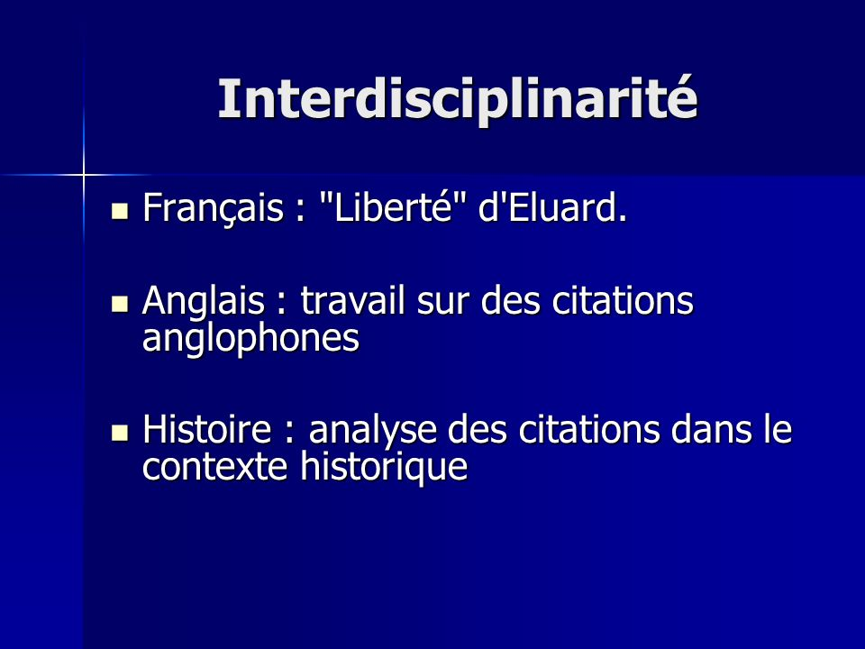 Interdisciplinarité Français :