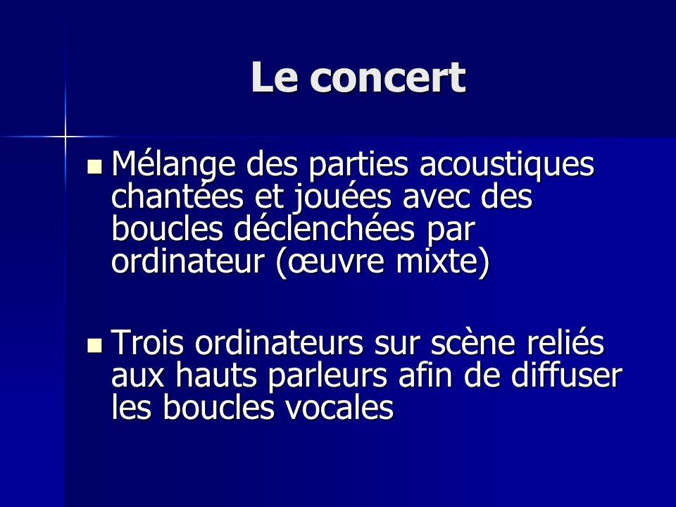 Le concert Mélange des parties acoustiques chantées et jouées avec des boucles déclenchées par ordinateur (œuvre mixte) Mélange des parties acoustique