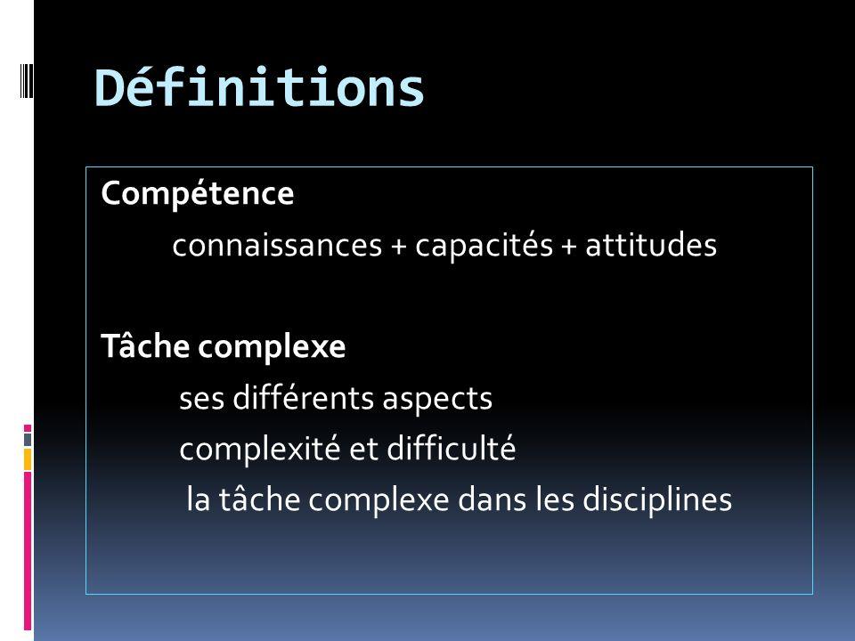 Définitions Compétence connaissances + capacités + attitudes Tâche complexe ses différents aspects complexité et difficulté la tâche complexe dans les