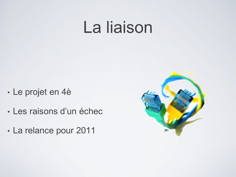 La liaison Le projet en 4è Les raisons dun échec La relance pour 2011