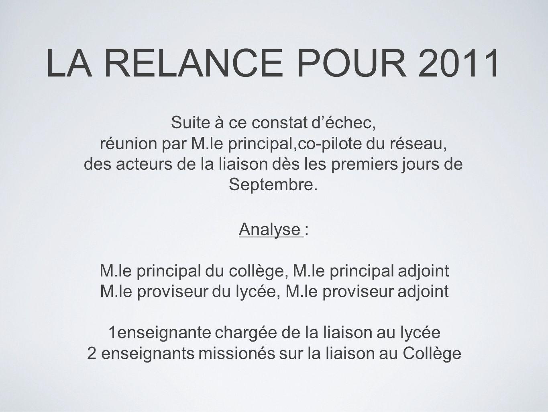 LA RELANCE POUR 2011 Suite à ce constat déchec, réunion par M.le principal,co-pilote du réseau, des acteurs de la liaison dès les premiers jours de Septembre.