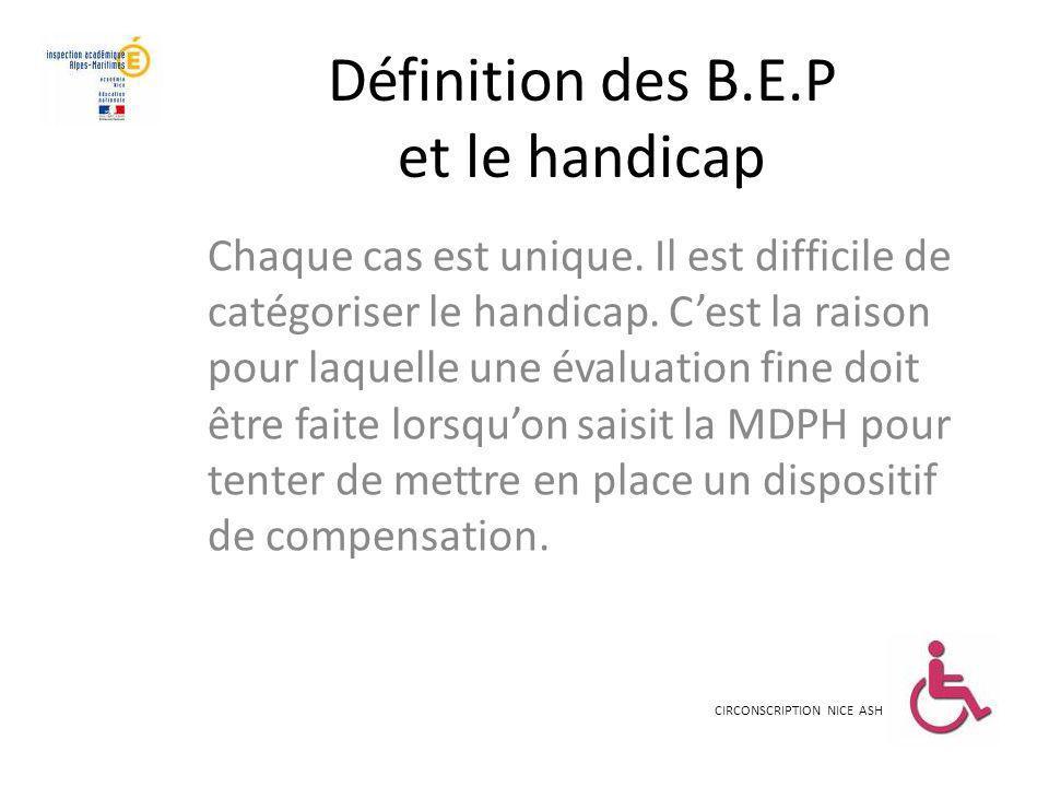 Définition des B.E.P et le handicap Chaque cas est unique. Il est difficile de catégoriser le handicap. Cest la raison pour laquelle une évaluation fi