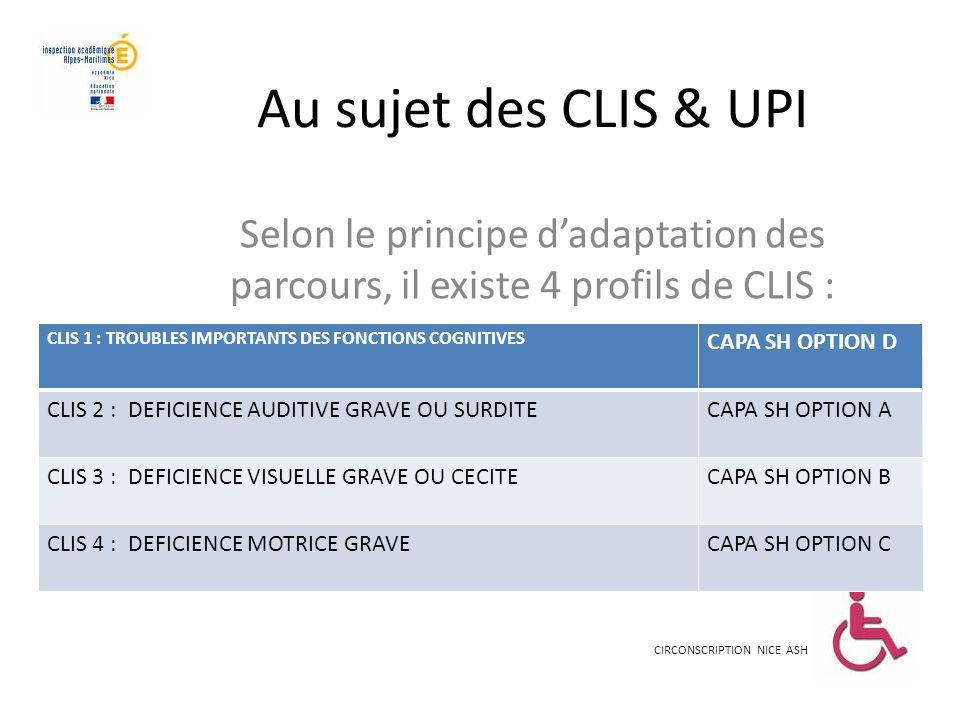 Au sujet des CLIS & UPI Selon le principe dadaptation des parcours, il existe 4 profils de CLIS : CIRCONSCRIPTION NICE ASH CLIS 1 : TROUBLES IMPORTANT