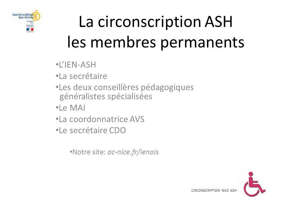 La circonscription ASH les membres permanents LIEN-ASH La secrétaire Les deux conseillères pédagogiques généralistes spécialisées Le MAI La coordonnat