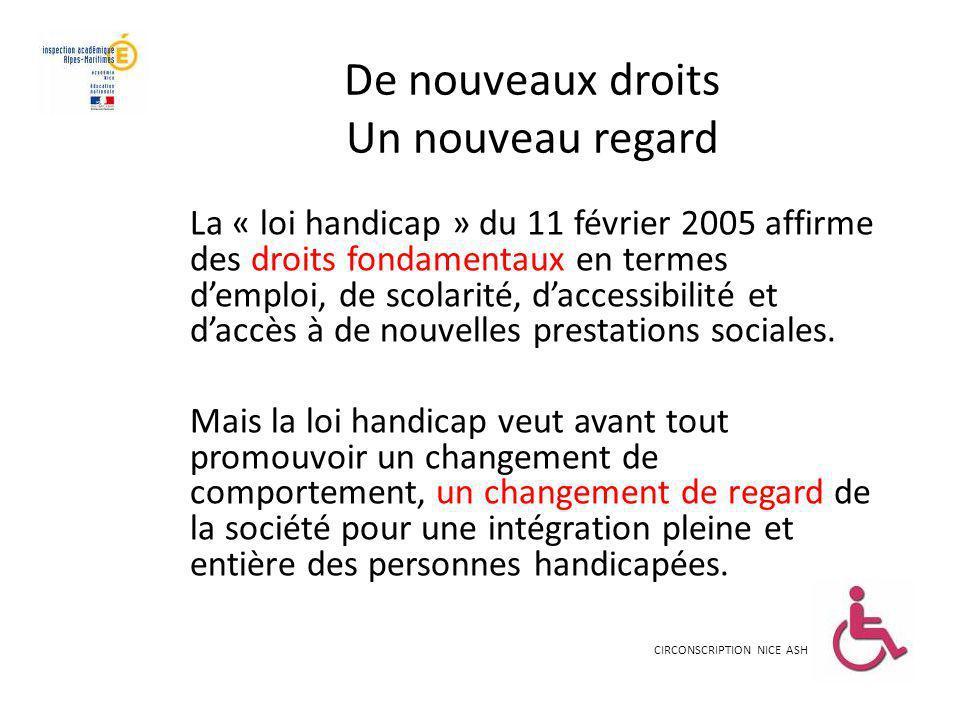 De nouveaux droits Un nouveau regard La « loi handicap » du 11 février 2005 affirme des droits fondamentaux en termes demploi, de scolarité, daccessib
