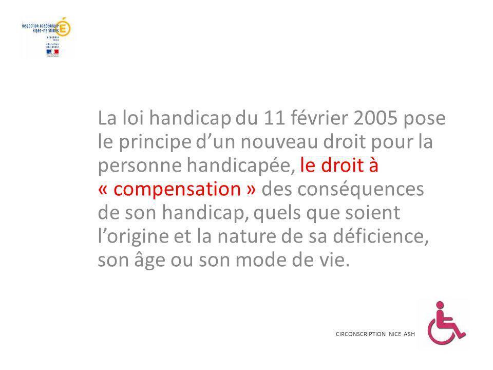 La loi handicap du 11 février 2005 pose le principe dun nouveau droit pour la personne handicapée, le droit à « compensation » des conséquences de son