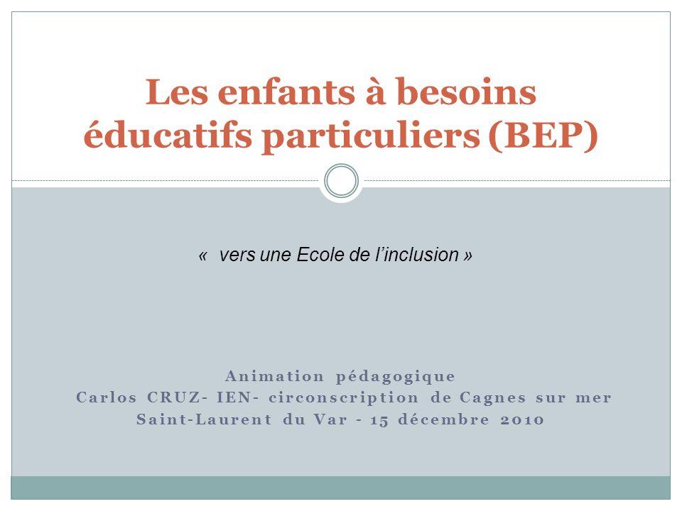 Animation pédagogique Carlos CRUZ- IEN- circonscription de Cagnes sur mer Saint-Laurent du Var - 15 décembre 2010 Les enfants à besoins éducatifs part