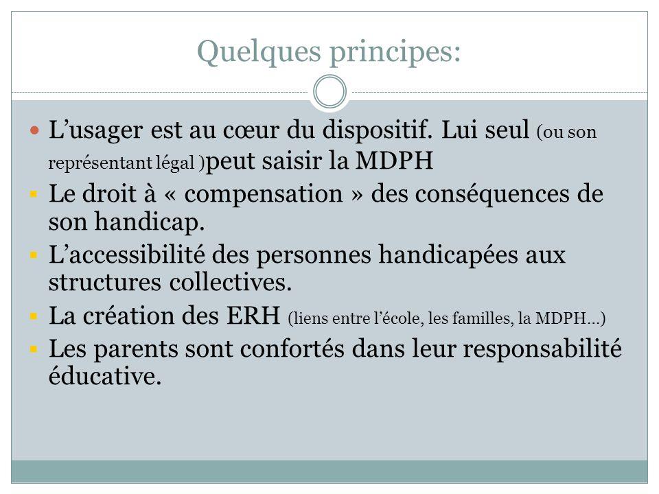 Quelques principes: Lusager est au cœur du dispositif. Lui seul (ou son représentant légal ) peut saisir la MDPH Le droit à « compensation » des consé