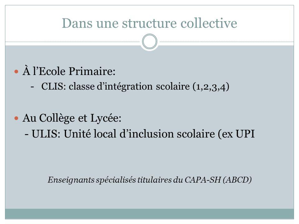 Dans une structure collective À lEcole Primaire: - CLIS: classe dintégration scolaire (1,2,3,4) Au Collège et Lycée: - ULIS: Unité local dinclusion sc