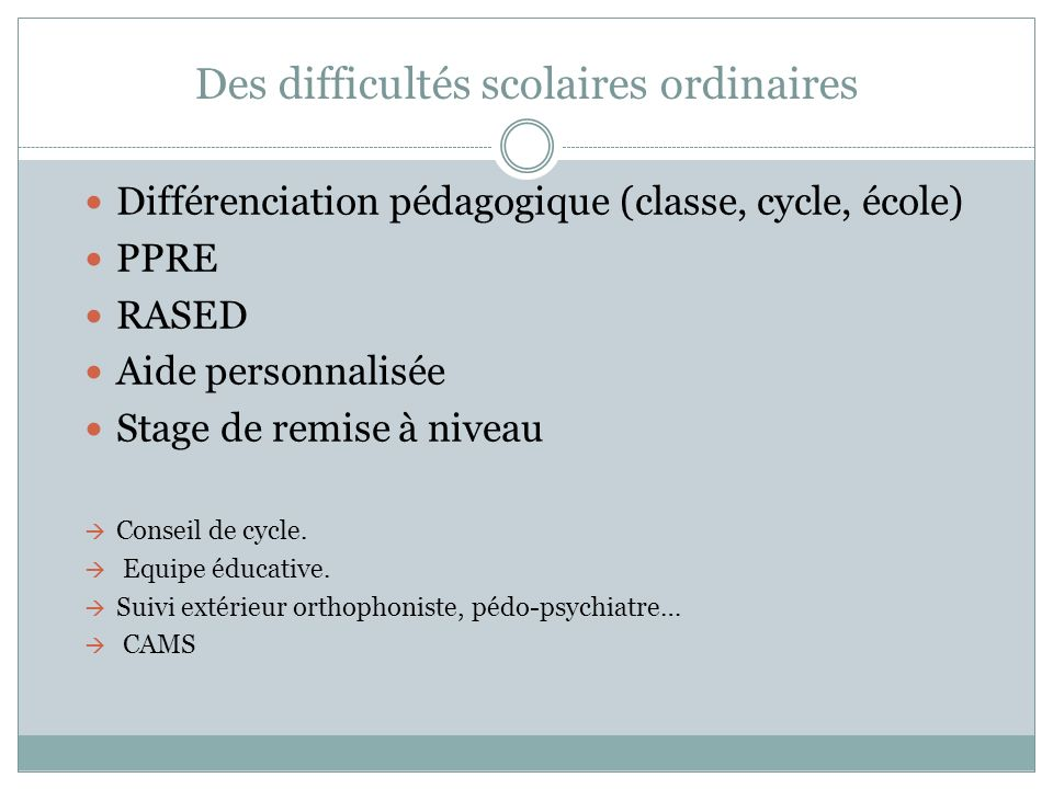 Des difficultés scolaires ordinaires Différenciation pédagogique (classe, cycle, école) PPRE RASED Aide personnalisée Stage de remise à niveau Conseil