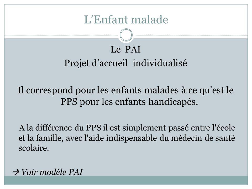 LEnfant malade Le PAI Projet daccueil individualisé Il correspond pour les enfants malades à ce qu'est le PPS pour les enfants handicapés. A la différ
